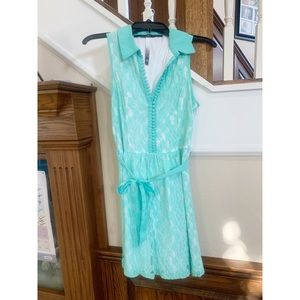 VGUC Aqua Lace Kenzie Dress - Small